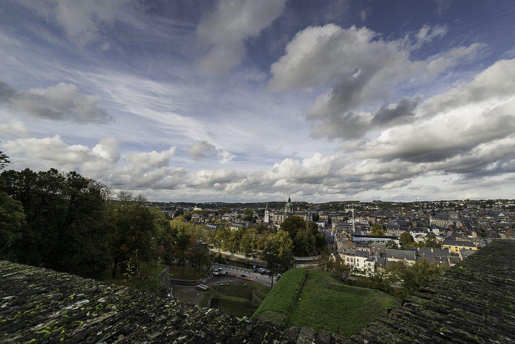 Namur depuis le haut de la rampe verte